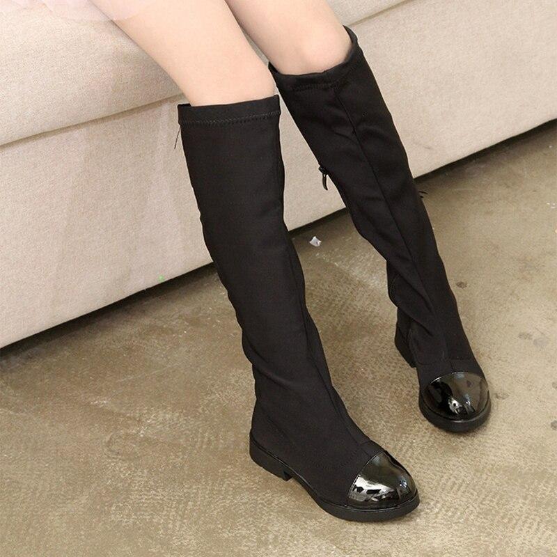European America Girls High Boots Round Toe Toddler Winter Boots Kids Knight Long Boots Girls