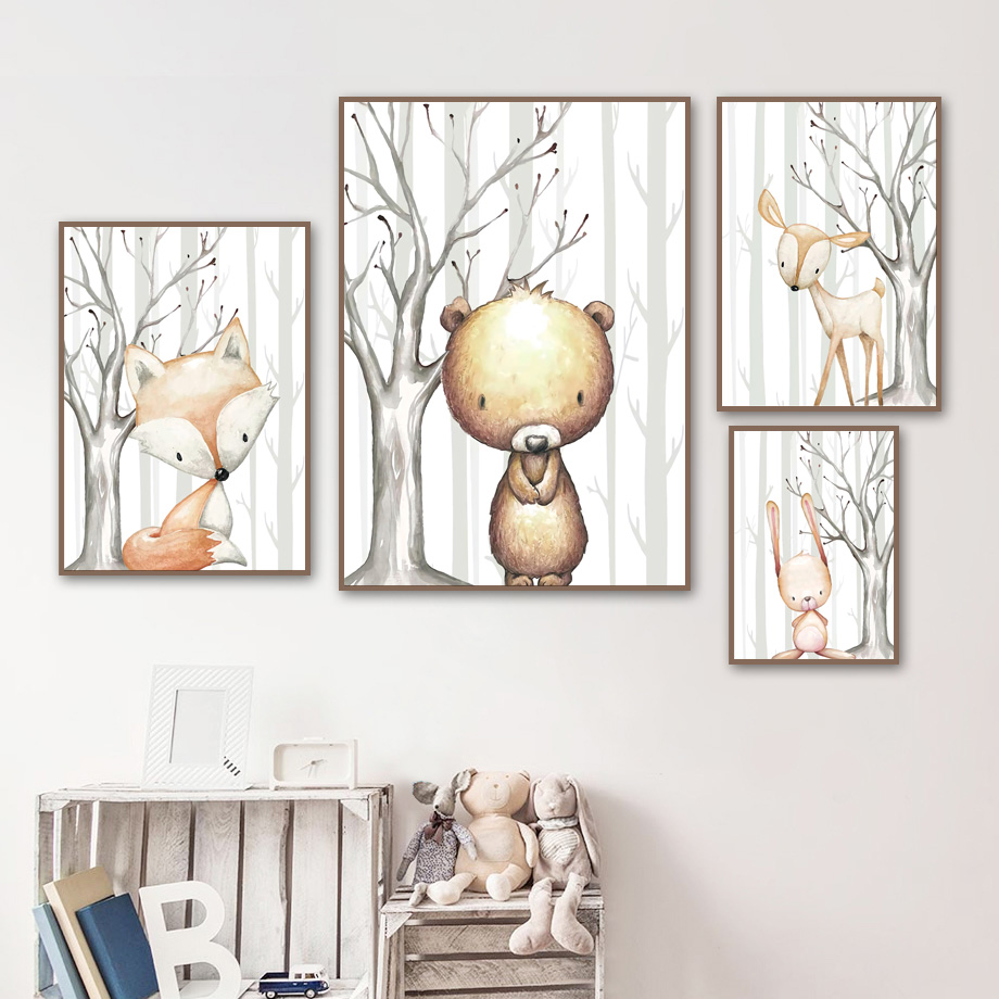 Cartoon Rabbit Fox Deer Bear Wall Art Canvas Painting Nordic Posters And Prints Woodlands Pictures For Kids Room Home Decor