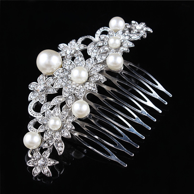 High Bright Pearl Bride mandy Alloy men Comb headband wedding accessories  artificial flowers snowflake tiara decoradas bodas ad84edbf022