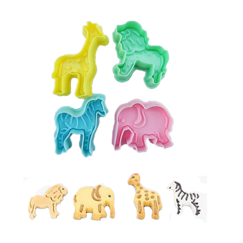 Cartoon Baking Mould Biscuit Cute Animal lion giraffe zebra  Shape Cookie Cutter for Claying Plunger