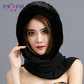Real Natural mink fur hat  for women winter scarf cap together black  beanies hat for Russian 2015 new arrival fur hat
