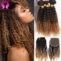Ombre Malaysian Curly With Closure 3 Bundles 3 Tone Ombre Hair With Closure Malaysian Kinky Curly Virgin Hair With Closure