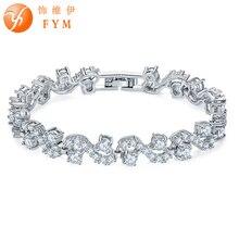 FYM Brand Fashion Jewelry Silver color Bracelets & Bangles For women Luxury Clear Cubic Zircon Bracelet Jewelry Accessories fym brand new luxury silver color plant bracelets