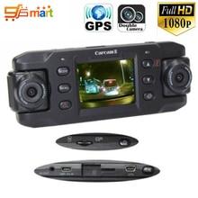 Original Dual coche de la lente de la cámara X8000 Full HD 1080 P con GPS Tracker vehículo de la lente coche DVR grabador Dash Cam G-sensor CA365