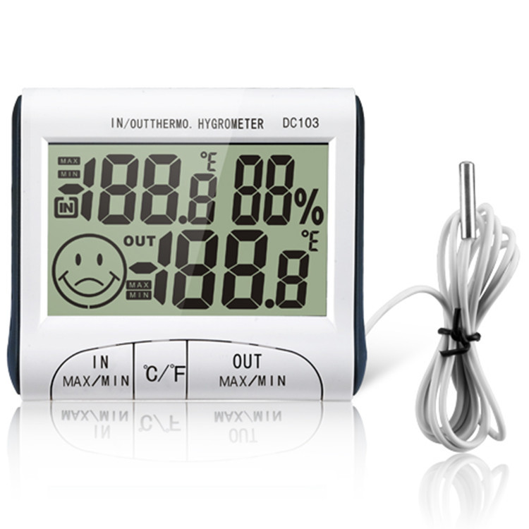 Digital Thermometer Hygrometer Moisture Meter and Wired Temperature with External Sensor White Weather station