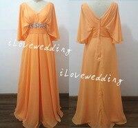 ผู้หญิงที่สง่างามยาวอย่างเป็นทางการชุดราตรีกับครึ่งแขนชีฟองคอv orange vestidosพรรคพรหมชุดเดรสภาพ...