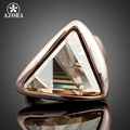 AZORA Rose Gold Plated Gold Color Triangle Stellux Austrian Crystal Ring TR0015