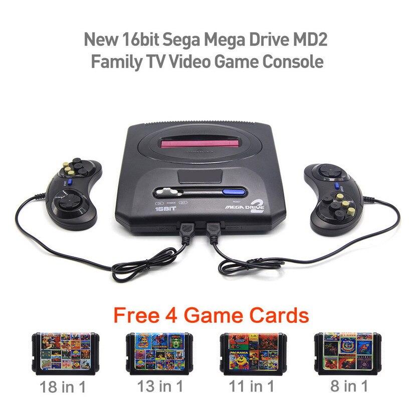 16bit Sega Mega Drive MD2 Famille Livraison 4 Jeu Cartes Nouvelle TV Jeu Vidéo Console Lecteur Rétro jeu PAL sortie