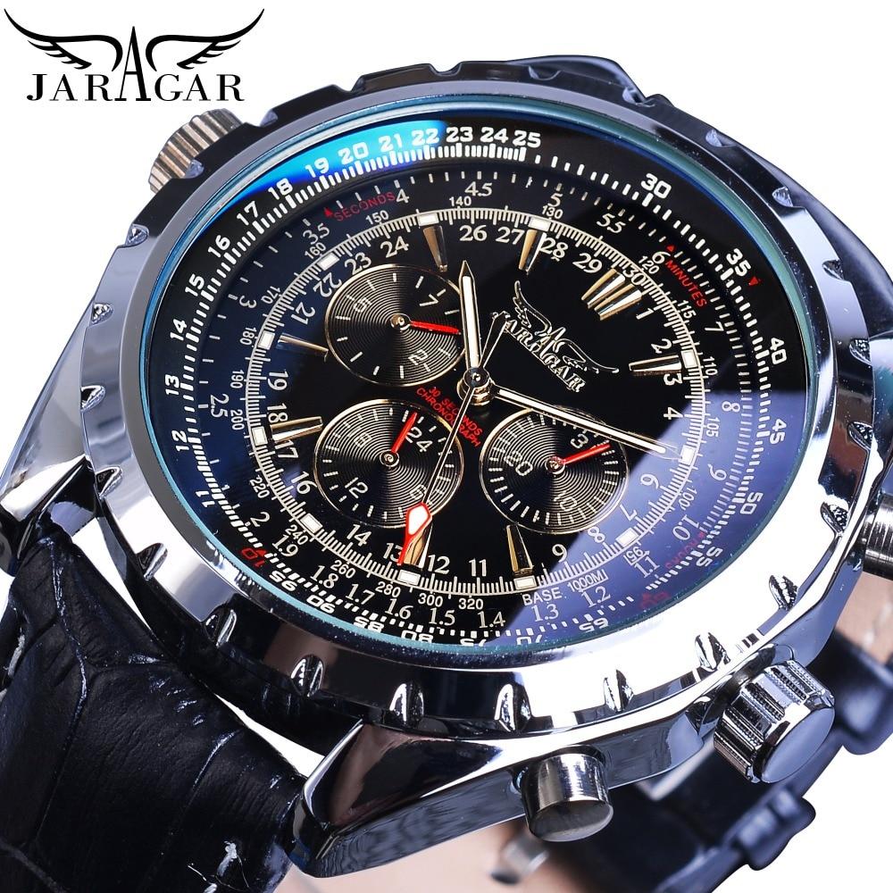 Jaragar Automatic Mechanical Calendar Sport Watches Pilot Design Men's Wrist Watch Top Brand Luxury Fashion Male Watch Leather
