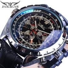 цена на Jaragar Mechanical Automatic Self-Wind Sports Watches Pilot Design Luxury Date Mens Leather Fashion Mechanical Watch Clock Reloj