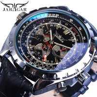 Jaragar Mechanical Automatic Mechanical Sport Watches Pilot Design Men's Wrist Watch Top Brand Luxury Fashion Male Watch Leather