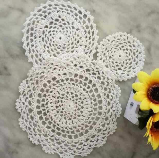 HOT Vòng Ren bông bảng đặt mat Handmade pad Vải crochet cưới placemat cốc cốc cốc trà cà phê món ăn coaster vải lau tay nhà bếp