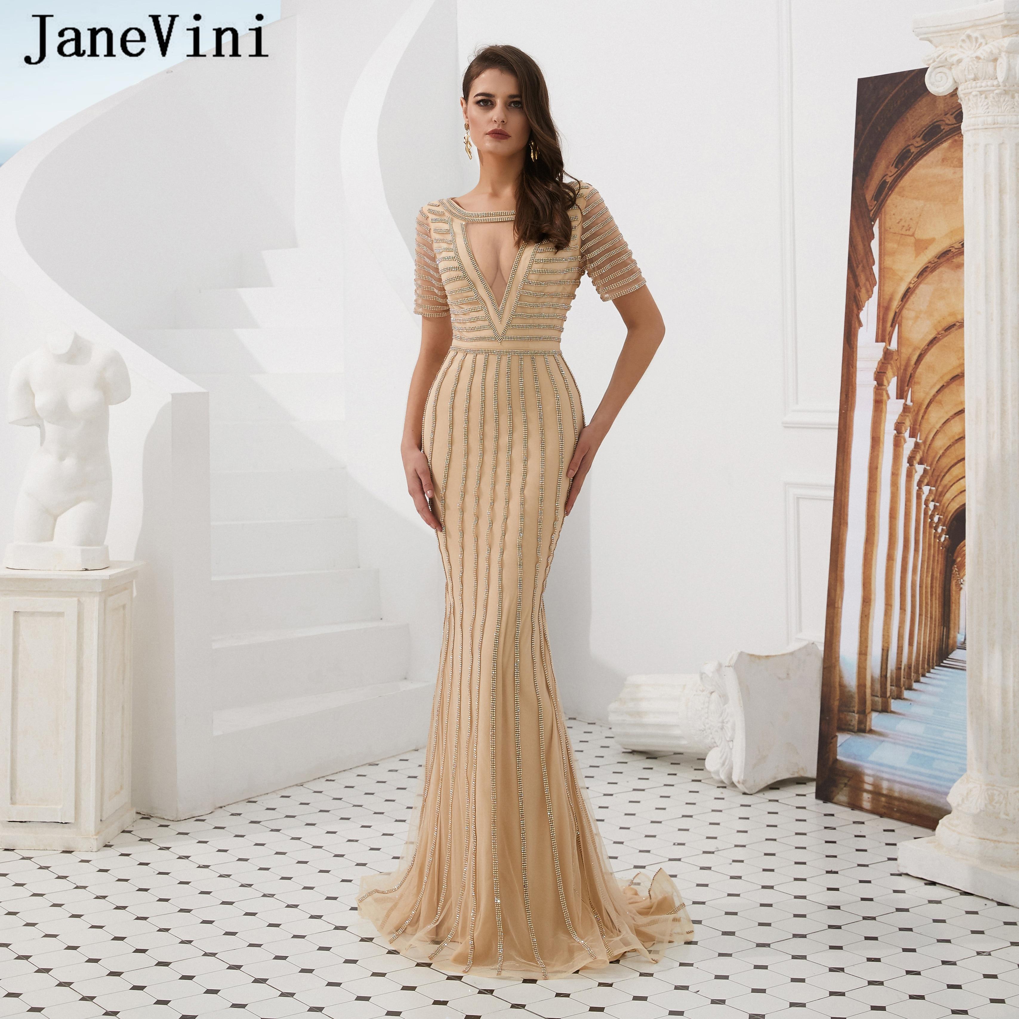 JaneVini luxe encolure dégagée Sexy diamant sirène longues robes De soirée manches courtes balayage Train scintillant robes De bal Robe De soirée