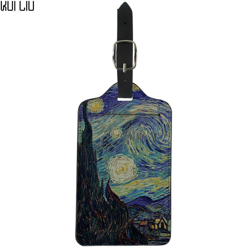 Customized Luggage Tags PU Identifier Bag Tag Travel Accessories Suitcase Name Address Label Vincent Van Gogh Starry Night Print