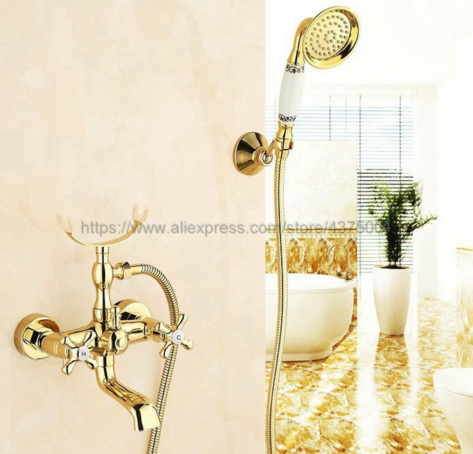 Dual Cross Handles Wall Mounted Golden Bathroom Tub Faucet with Hand Held Shower Sprayer Ntf124 dual cross handles antique brass bathroom tub faucet with hand held shower sprayer