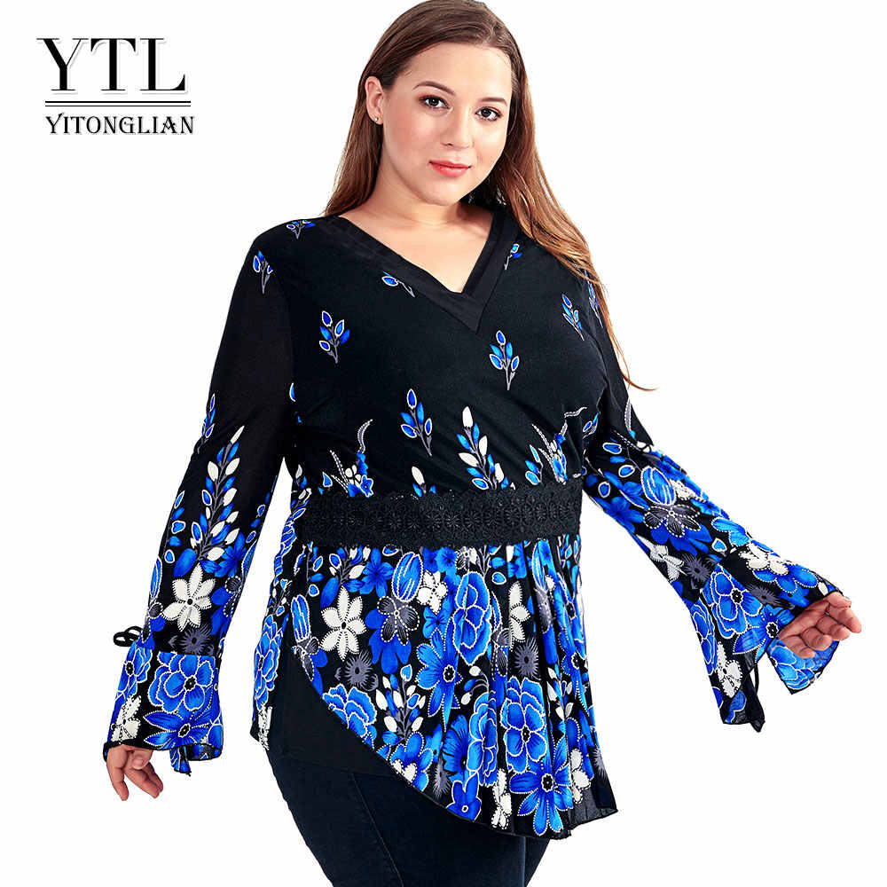 c901f8ad95 YTL Plus Size T Shirt Women Autumn Spring Floral Lace V Neck Top Female  Tunic Long