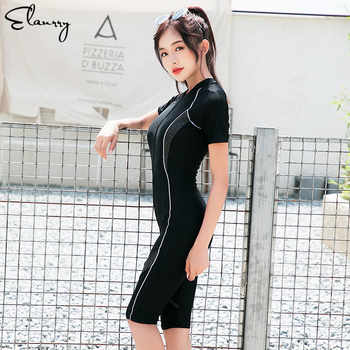 2018 Newest One Piece Sport Swimsuit Professional Beach Surfing Suits Short Sleeves Beach Wear Women Summer Bathing Suits