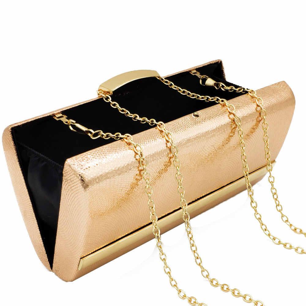 Boutique De FGG элегантный серпантин ПУ шампанское Для женщин Вечерний Клатч Свадебная вечеринка ужин женские сумки Клатчи Кошелек