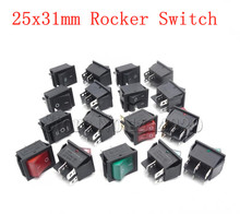 Rocker Power Switch 25*31mm KCD4-201 4 Pin 6 2 / 3 Position 16A 250V 20A 125VAC Green Red Black Button with Light