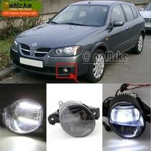 eeMrke Guiding Led DRL For NISSAN ALMERA 2002 2003 2004 2005 2006 2in1 LED Fog Lights With Q5 Lens Daytime Running Lights