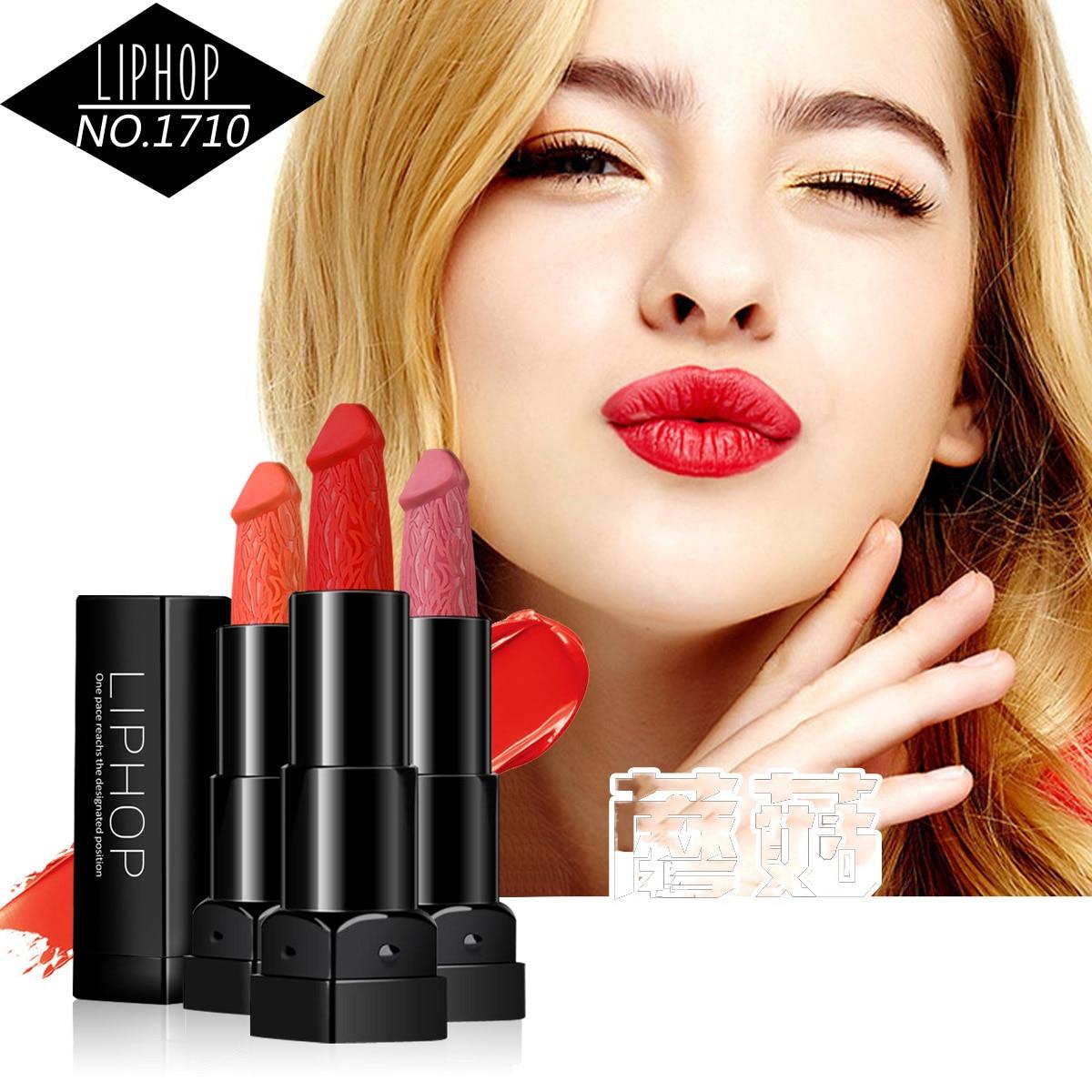 Liphop Brand 6 Colors Penis Shape Lipstick Mushroom Lipstick Long Lasting Moisture Cosmetic Rouge Pop Matte Lipstick Lips Makeup