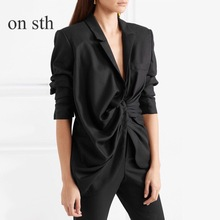 Summer 2018 Casual Small Suit Women Black Cotton and Linen Sleeveless Short Suit Coat Irregular Pleated Placket Slim Fit Fashion