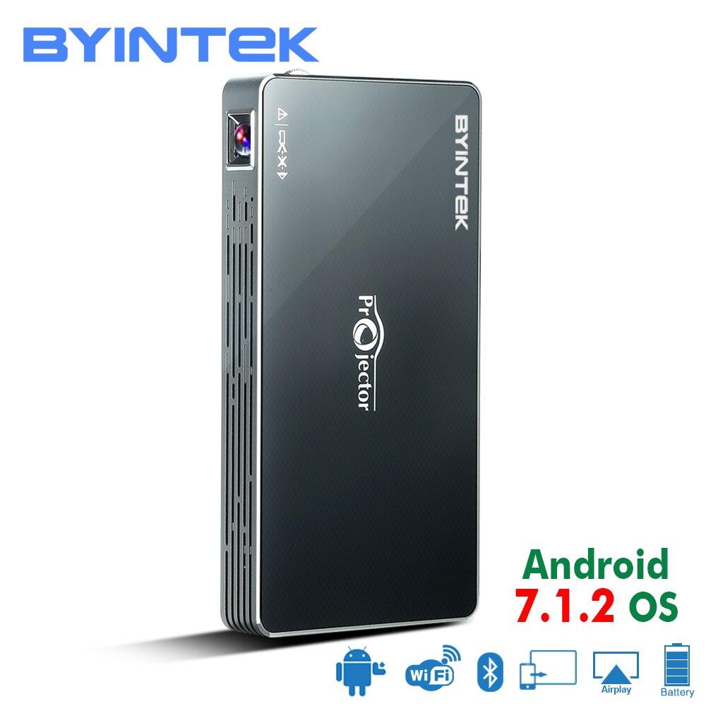BYINTEK НЛО MD322 Портативный умный дом Театр карман Android 7.1.2 OS Wifi проектор HD 1080 P MAX 4 К HDMI мини светодиодный проектор