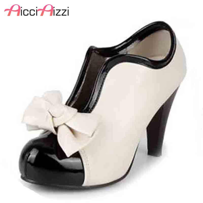 women high heel shoes new sexy lady beige bow vintage bowknot pumps platform round toe ladies H023 size 35-43 ladylike women s pumps with round toe and bowknot design