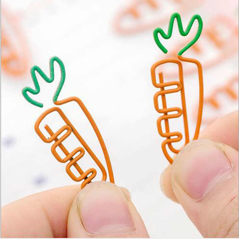 2 pcs/lot Creative Kawaii carrot Shaped Metal Paper Clip Bookmark Stationery School Office Supply Escolar Papelaria