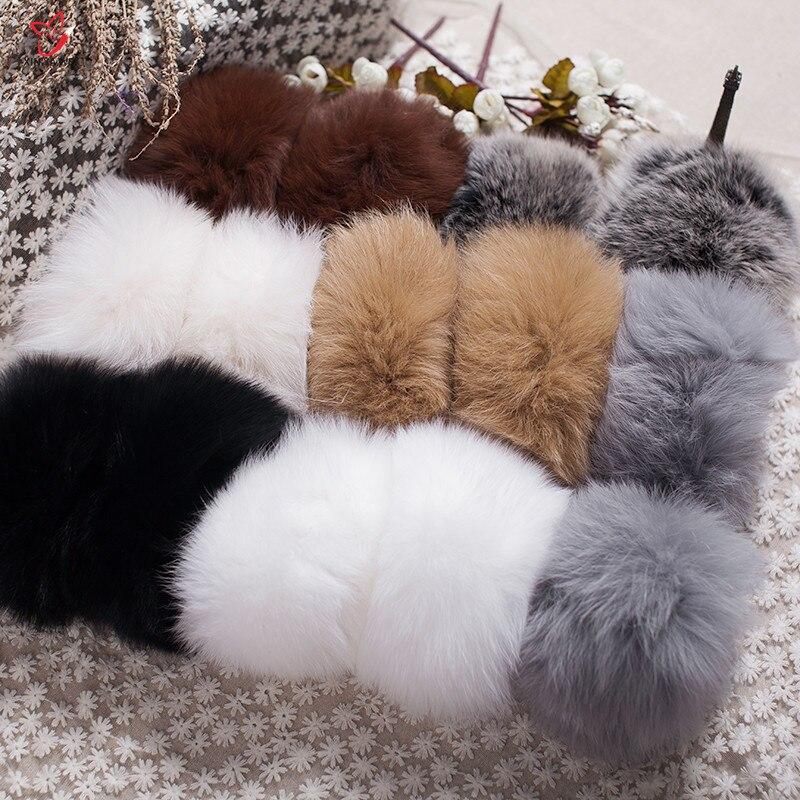 Manchettes de fourrure de renard de haute qualité offre spéciale chauffe-poignet véritable fourrure de renard manchette bras plus chaud dame Bracelet véritable fourrure Bracelet gant HY83L - 5