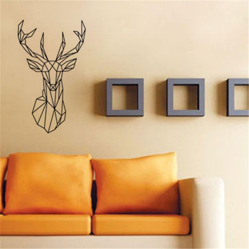 Geometry Animal Series Decals New Design Geometric Deer Head Wall ...
