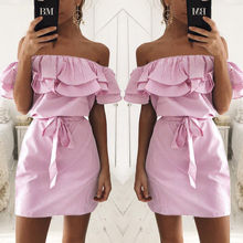 2018 Autumn New Wrapped Strapless Womens Ruffle Sleeve Striped Dress Urban Leisure Lotus Leaf Pink Beach Belt