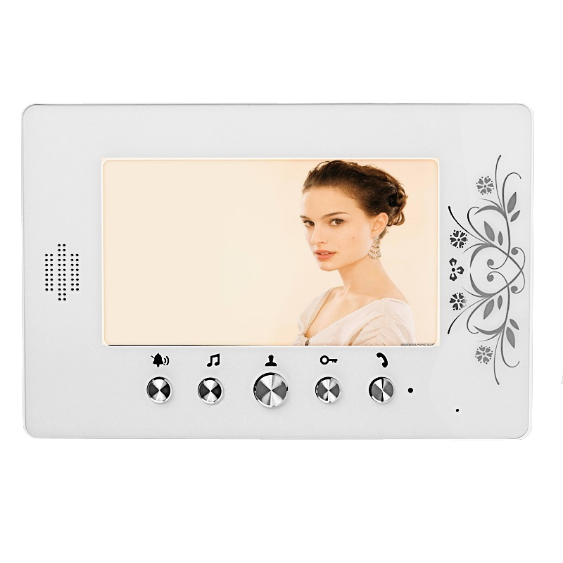 FREE SHIPPING 4-pin 4 wire Wired 7 inch Color Screen Video Intercom DoorPhone With 1 White Monitor  In Stock free shipping new wired 7 inch color tft touch white monitor video doorphone intercom system night vision door camera in stock