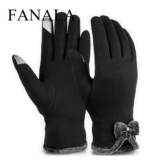 New Female Autumn Winter Non-Inverted Velvet Cashmere Full Finger Warm Lace Gloves Women Cotton Touch Screen Bow Tie Gloves(China)