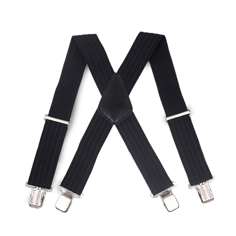 Newly Men Clip-on Braces Elastic Bands 5cm Wide Suspenders Gallus 5x100cm Adjustable Strap with 4 Clips 2017