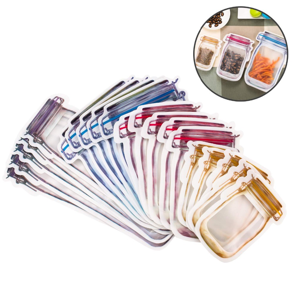 LMETJMA Reusable Mason Jar Bags Portable Mason Jar Zipper Bags Seal Food Saver Storage Bags Snack Sandwich Ziplock Bags KC0248