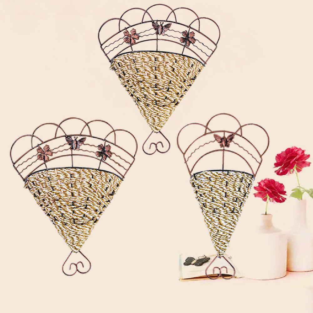 Конический Форма плетеная цветочные горшки стены Утюг Цветочная корзина на стену, из ротанга поддельные с цветочной вазы домашний сад магазин Декор