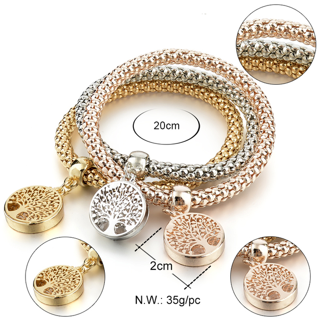 LongWay Vintage Designer Austrian Rhinestones Gold Plated Tree of Life Charm Bracelets Popcorn Chain Jewelry For Women SBR160104