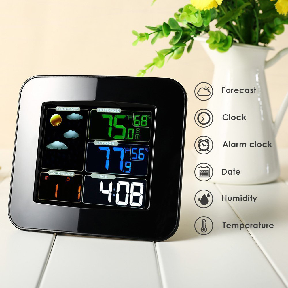 LCD Digital In/Outdoor Temperature Humidity Barometer Wireless Weather Station Color Snooze Alarm Clock Weather Forecast Meter wireless digital weather station latest new white remote multifunction weather forecast clock temperature humidity meter