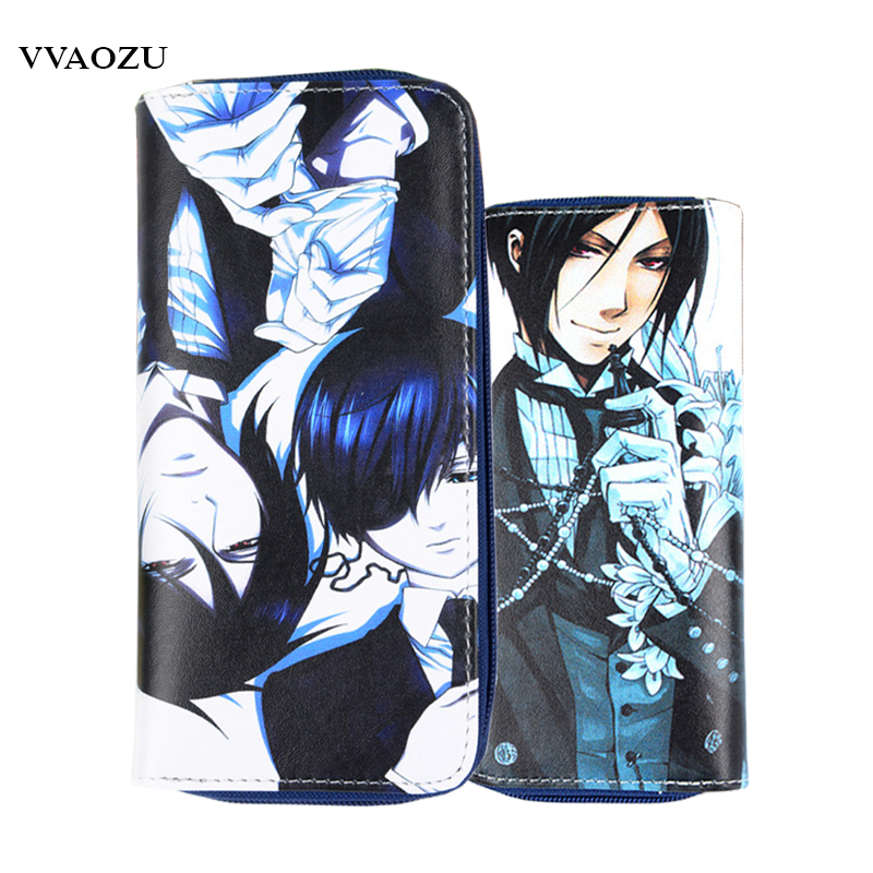 High Quality Black Butler Ciel Phantomhive Cosplay Wallets Fashion Purse Carteira Masculina PU Leather Card Holder Clutch Bag
