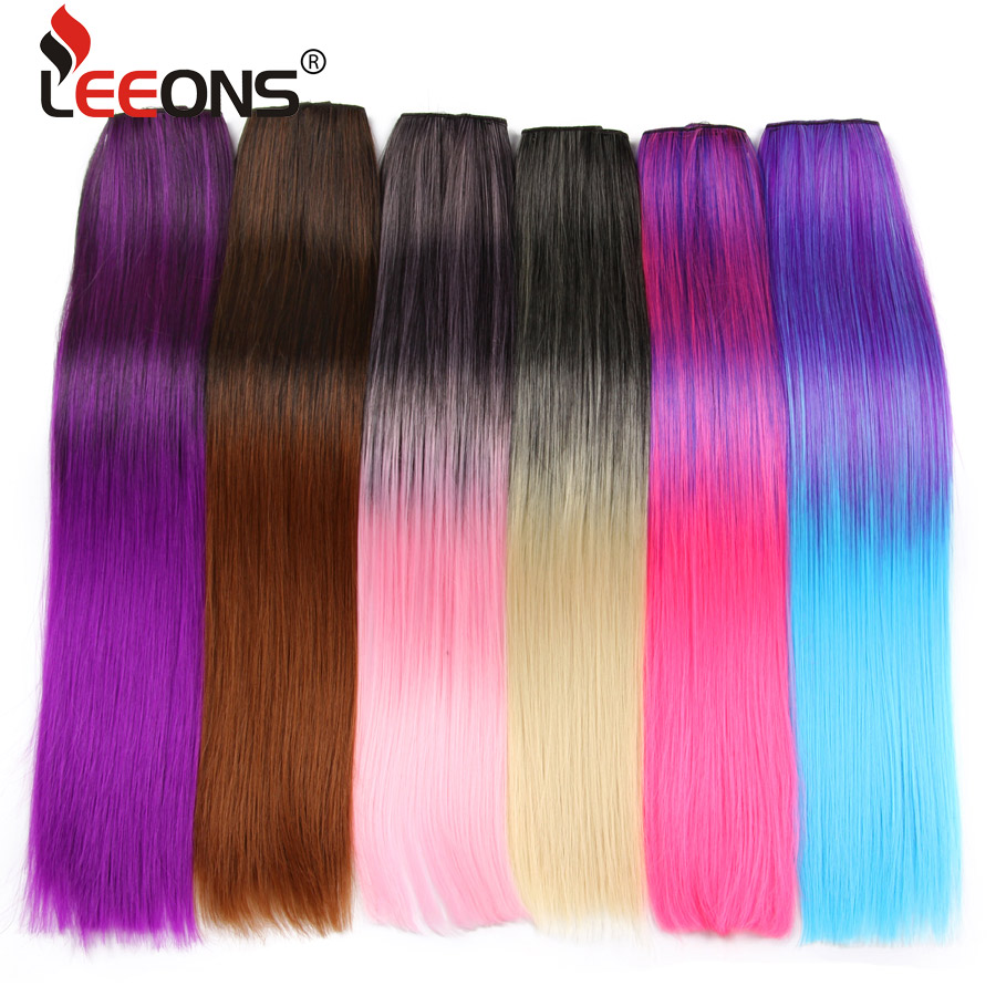 Leeons Synthetic Hair Ombre 5 Clips Hair Extensions Black Purple Gray Purple  Hair Extension Straight Clip Hairpiece 22 Inch