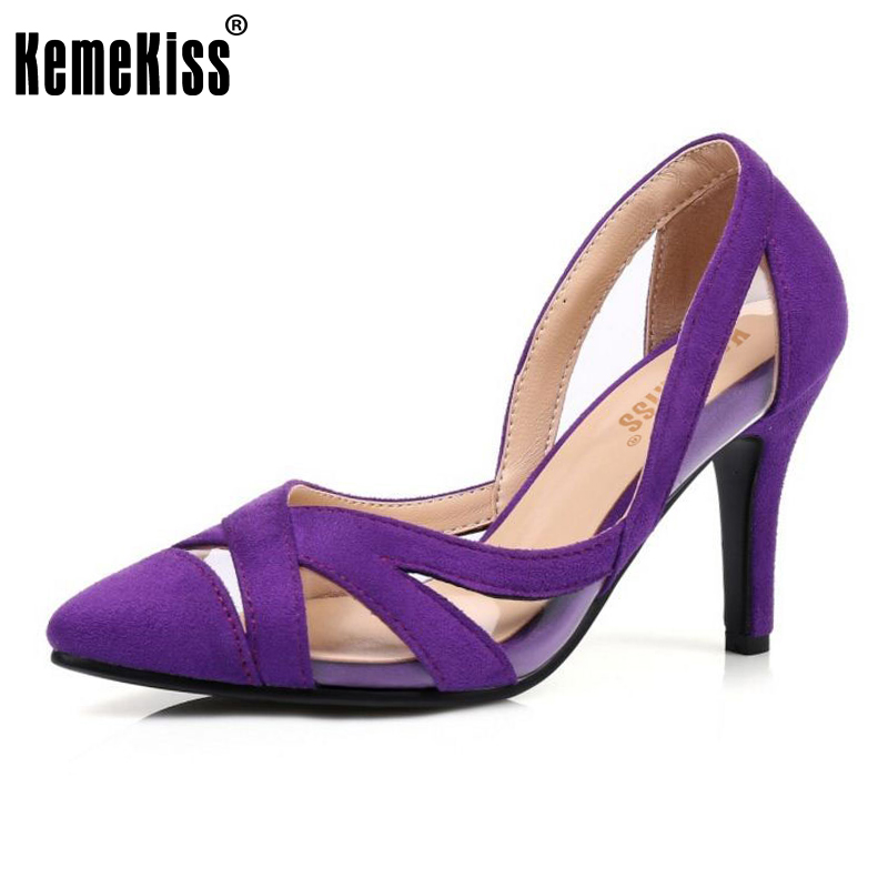KemeKiss 4 Colors Size 32-43 Sexy Lady High Heel Shoes Women Pointed Toe Patchwork Thin Heels Pumps Party Club Women Footwears doratasia denim eourpean style big size 33 43 pointed toe women shoes sexy thin high heel brand design lady pumps party wedding