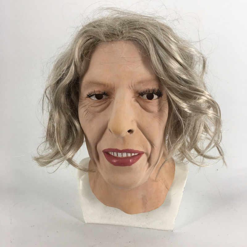 2019 горячая Распродажа Высококачественная модная резиновая маска для старых леди Тереза может Маска Реалистичные Вечерние платья на Хэллоуин Латексная Маска для старых леди