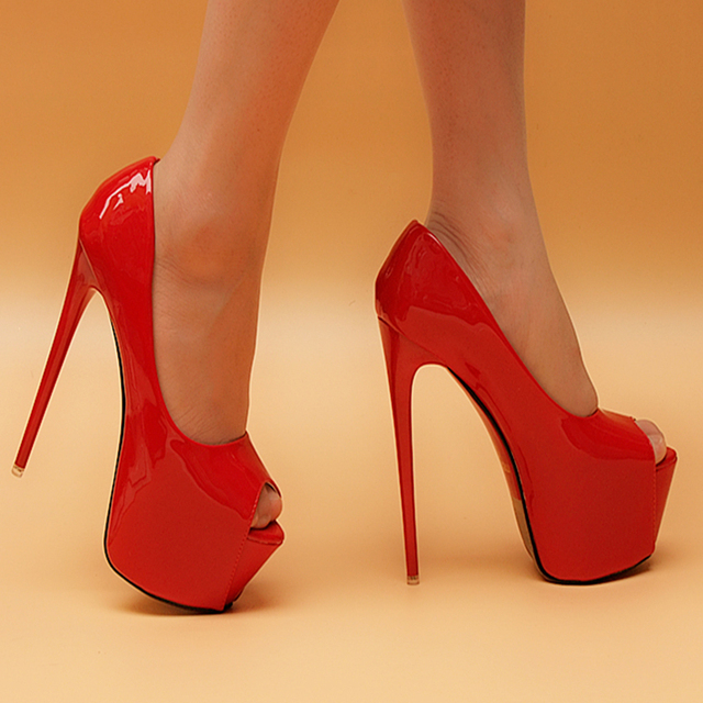 Peep Toe Women Red Wedding Shoes Sexy 16cm High Heels Dress Shoes ...
