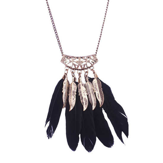SHUANGR Bohemian BOHO Ethnic Indian Style Feather Pendant Necklace Vintage Retro Chain Necklace Fashion Pendant Women Jewellery
