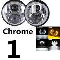 For Lada 4x4 urban Niva 7 black LED H4 headlight moto lamps headlamp for Jeep Wrangler JK TJ LJ for Land Rover Defender