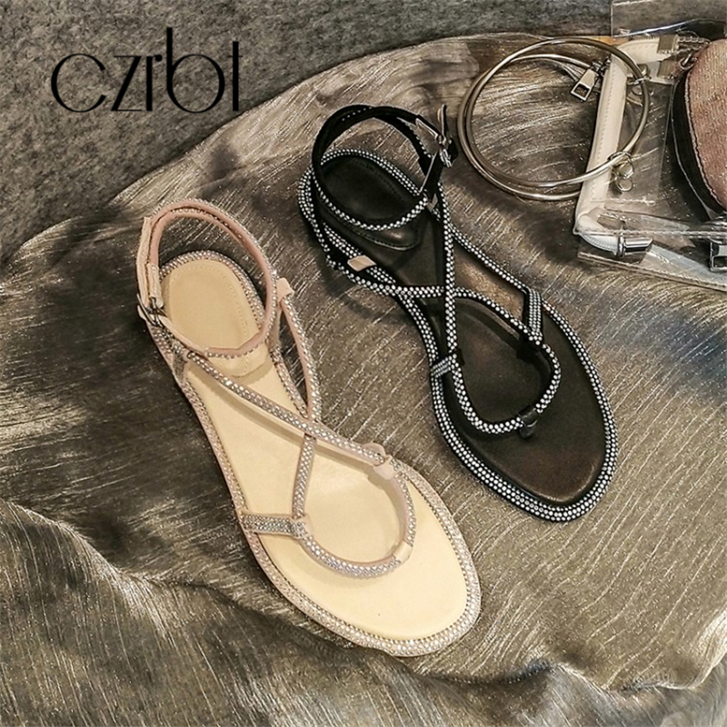 CZRBT 2019 Trendy Beads Decorative Sexy Leather Ladies Sandals Hand made Non slip Comfortable Cool Flat heeled Ladies Sandals - 5