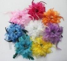 Silk flower Feather Fascinator Flapper Headband Colors Headwear Hair Accessories Clip Brooch Wedding Hairpin BD002