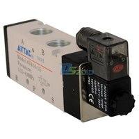 Good Quality 1/2 AC 220V 5 way 2 position Pneumatic Electric Solenoid Valve NPT Air Aluminum