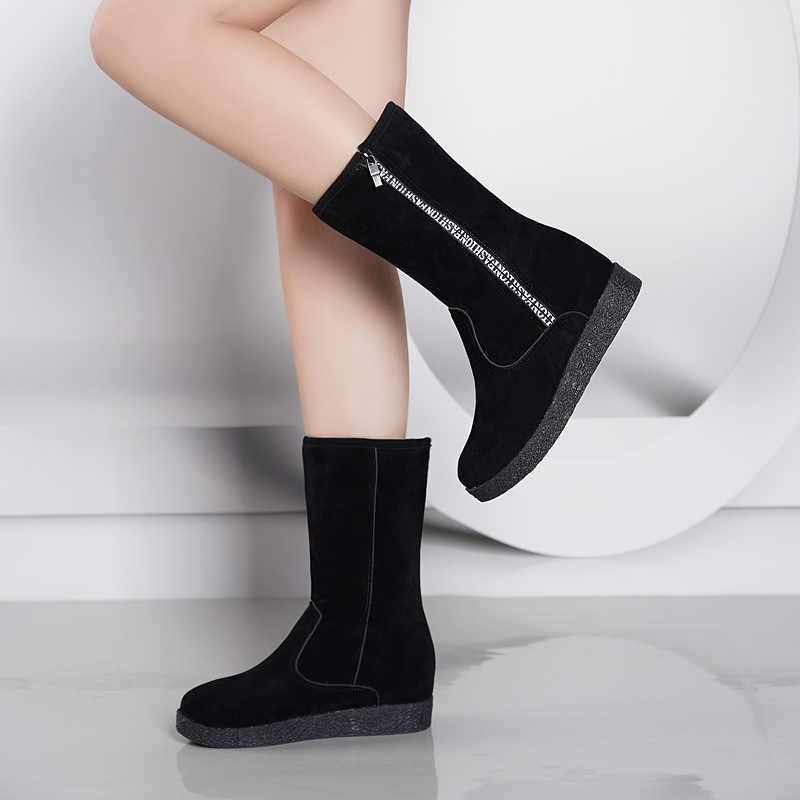 Fashion Vrouwen winter zwarte snowboots Verdikte zapatos de mujer Laarzen een reed Platte Lage Rits Midden Buis Laarzen hak 5 cm